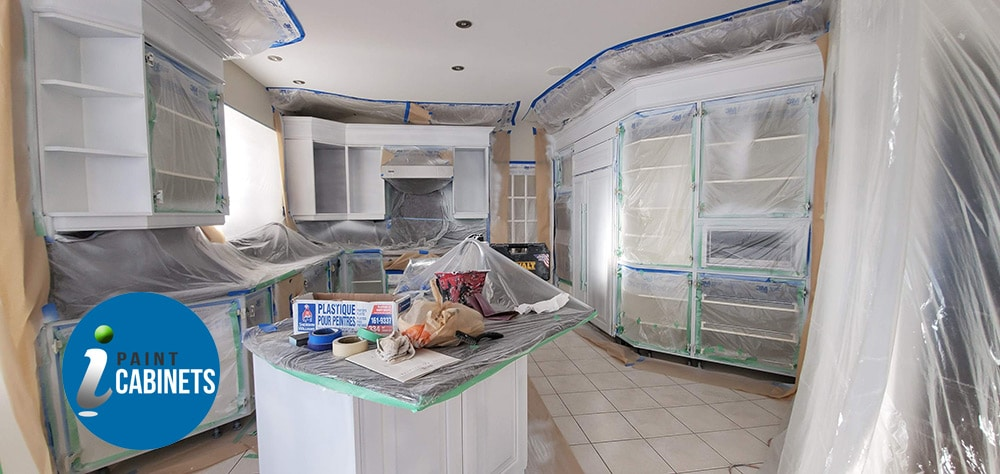 Professional Covering for Spray Painting Kitchen area