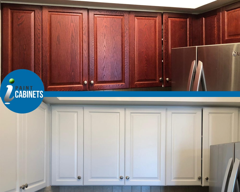 Red Oak Cabinet Doors transition to light gray modern cabinets