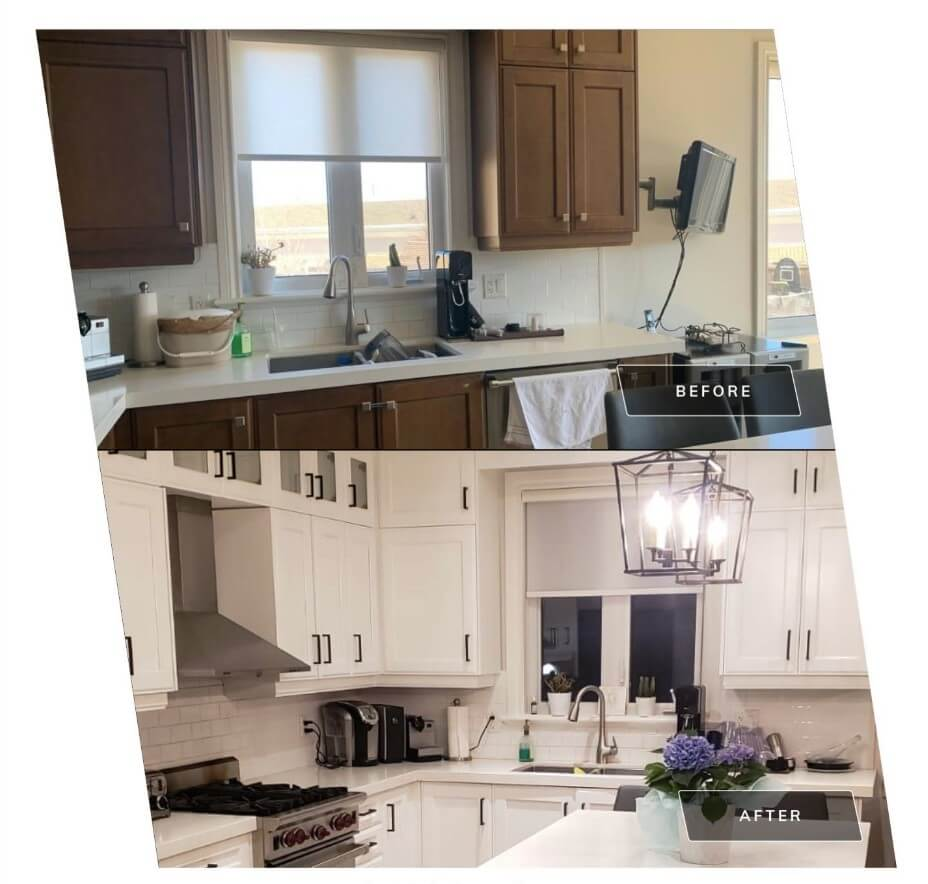 Before After Kitchen Cabinets Spraying White Woodbridge