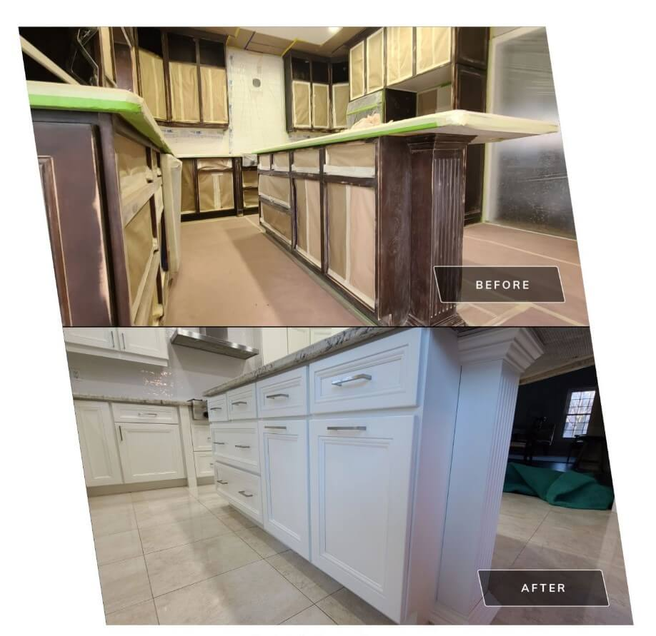 Kitchen Cabinets Sanding Covering Spray Painting Richmond Hill